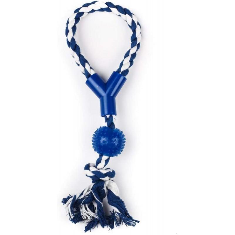 ZAMIBO Corde 33cm avec Balle caoutchouc à Picots 33 cm - Bleu Blanc - Jouet pour Chien