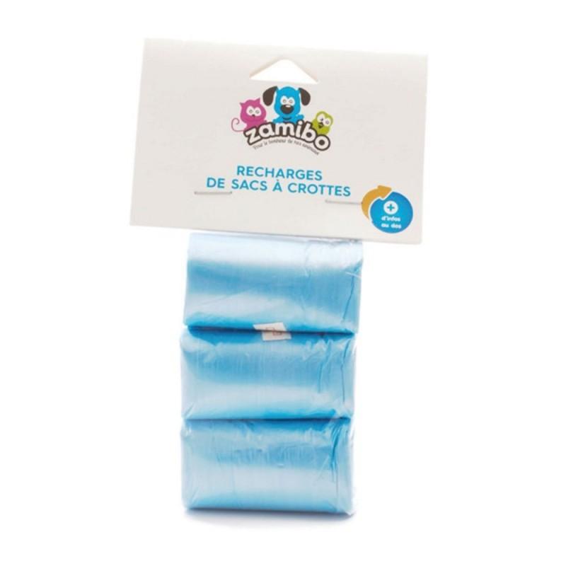ZAMIBO - Recharge 60 sacs à crottes (3x20), bleu