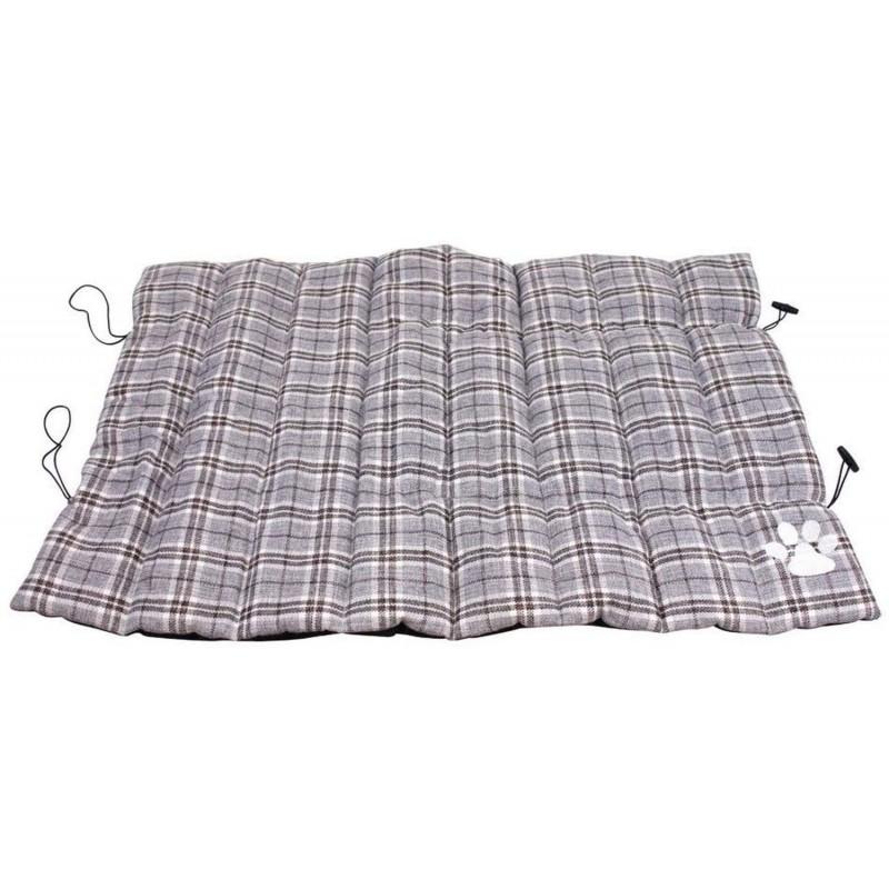ZAMIBO - Matelas pour Chien gris écossais enroulable Antidérapant 65 x 90 cm