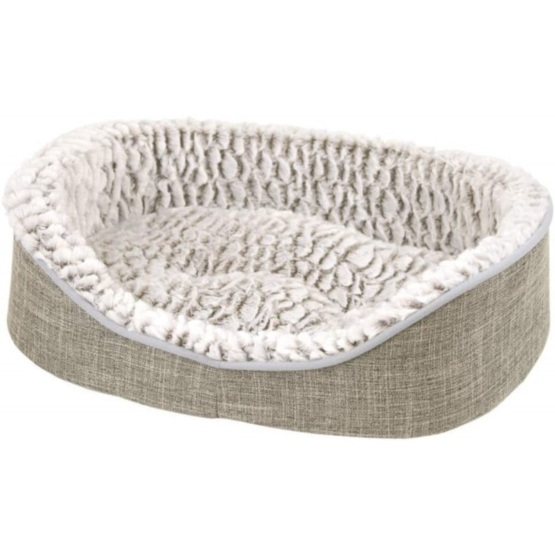 ZAMIBO - Corbeille souple style lin, coussin amovible, écusson, 60 x 45 x 16,5cm gris