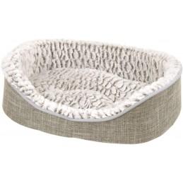 ZAMIBO - Corbeille souple style lin, coussin amovible, écusson, 50 x 35 x 14,5cm gris