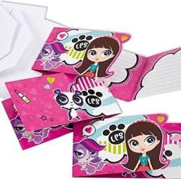 AMSCAN - 6 Cartes invitation + Enveloppes Littlest Petshop