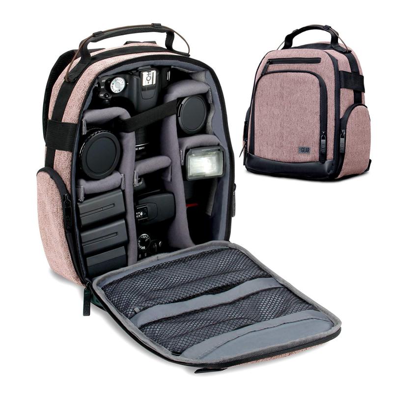 USA Gear Sac à Dos UBK - Brun - Appareil Photo Réflex Intérieur Ajustable