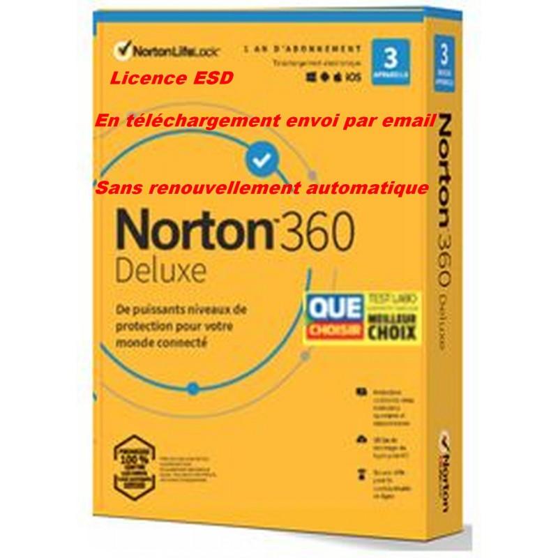 NORTON 360 DELUXE 2021 sans renouvellement automatique ESD 3 Appareils - 3APP - 1 AN - 25GB CLOUD - Envoyé par mail