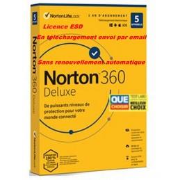 NORTON 360 DELUXE 2021 sans renouvellement automatique ESD 5 Appareils - 5APP - 1 AN - 50GB CLOUD - Envoyé par mail