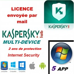 Kaspersky Internet Security Multidevice 2021 - 5 App 2 Ans PC Mac Android iOS - Licence officielle par mail - ESD
