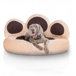 Knuffelwuff panier chien - lit pour chien - coussin - corbeille pour chien Luena - forme de patte - Beige/Brun