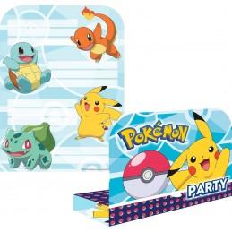 AMSCAN - 8 Cartes invitation + Enveloppes Pokemon