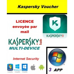 Code VOUCHER - Kaspersky Internet Security Multidevice 2021 - 3 App 1 An PC Mac Android iOS - Licence officielle par mail - ESD