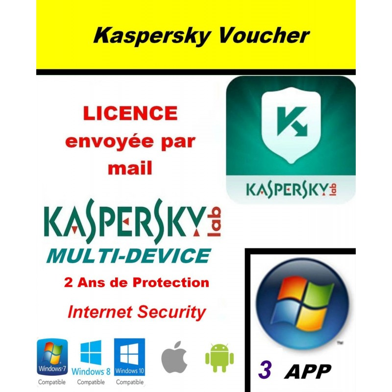 Code VOUCHER - Kaspersky Internet Security Multidevice 2021 - 3 App 2 Ans PC Mac Android iOS - Licence officielle par mail - ESD