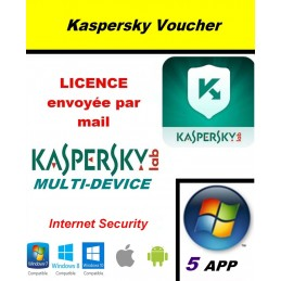 Code VOUCHER - Kaspersky Internet Security Multidevice 2021 - 5 App 1 An PC Mac Android iOS - Licence officielle par mail - ESD