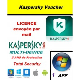 Code VOUCHER - Kaspersky Total Security Multidevice 2021 1 App 2 ans PC Mac Android - Licence officielle par mail - ESD