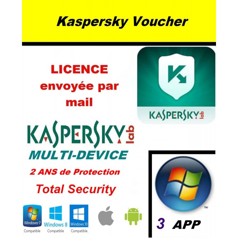 Code VOUCHER - Kaspersky Total Security Multidevice 2021 - 3 App 2 ANS PC Mac Android - Licence officielle par mail - ESD