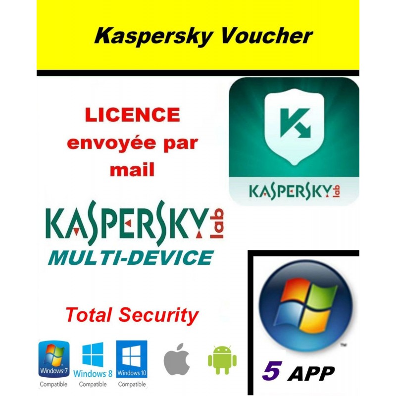 Code VOUCHER - Kaspersky Total Security Multidevice 2021 - 5 App 1 An PC Mac Android - Licence officielle par mail - ESD