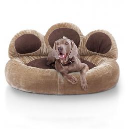 Knuffelwuff panier chien - lit pour chien - coussin - corbeille pour chien Luena - forme de patte - Marron