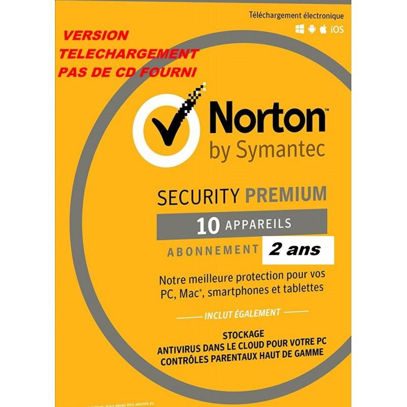 Norton Security 2021 Premium 10APP 2 ans (Edition Familiale) PC / Mac / Android / iOS – LICENCE ESD envoyée par mail