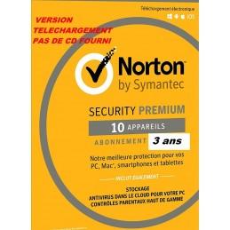 Norton Security 2021 Premium 10APP 3 ans (Edition Familiale) PC / Mac / Android / iOS – LICENCE ESD envoyée par mail
