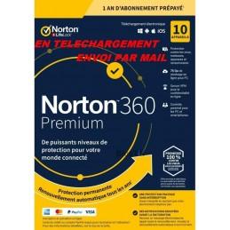 NORTON 360 PREMIUM 2021 ESD ABO 10 Appareils - 10APP - 1 AN - 75GB CLOUD -Envoyé par mail