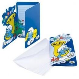 Riethmuller - Lot 6 Cartes invitation + enveloppes Schtroumpf classic