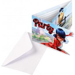 AMSCAN - 8 Cartes invitation + Enveloppes Miraculous