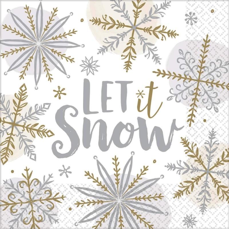 Lot 16 Serviettes Papier Flocon de neige brillant 33 x 33 cm