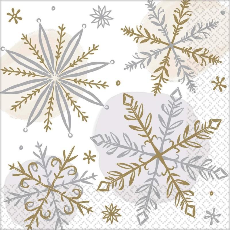 Lot 16 Serviettes Papier Flocon de neige brillant 25 x 25 cm