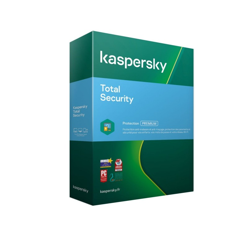 Kaspersky Total Security Multidevice 2021 - 3 App 2 ANS 1 KPM + 1KSK - PC Mac Android - Licence officielle par mail - ESD
