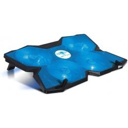 """Refroidisseur AirBlade 17"""" LED Bleu ventilateur silencieux de 120mm, variateur de vitesse, 3 positions d'inclinaison - SOG"""