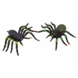 Riethmuller - Lot de 2 Araignées en Plastique - Noir/Violet avec tache verte + Noir/Vert Kaki avec tache verte