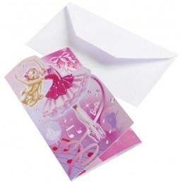 AMSCAN - Lot 6 Cartes invitation + enveloppes Barbie Pink Shoes