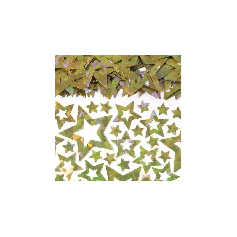 AMSCAN - Sachet Confettis Etoiles dorées métalliques assorties 14g