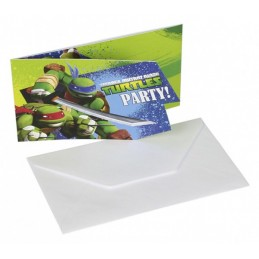 AMSCAN - Lot 6 Cartes invitation + enveloppes Tortue Ninja