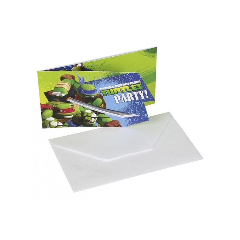 AMSCAN - Lot 6 Cartes invitation + enveloppes Tortue Ninja