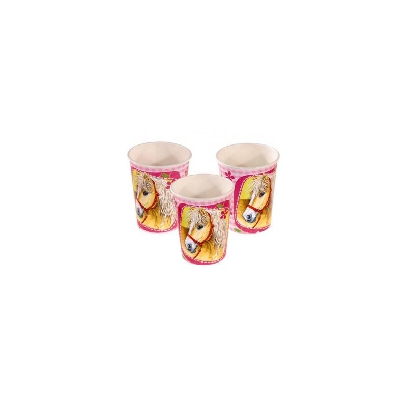 AMSCAN - Lot 8 Gobelets Carton Cheval