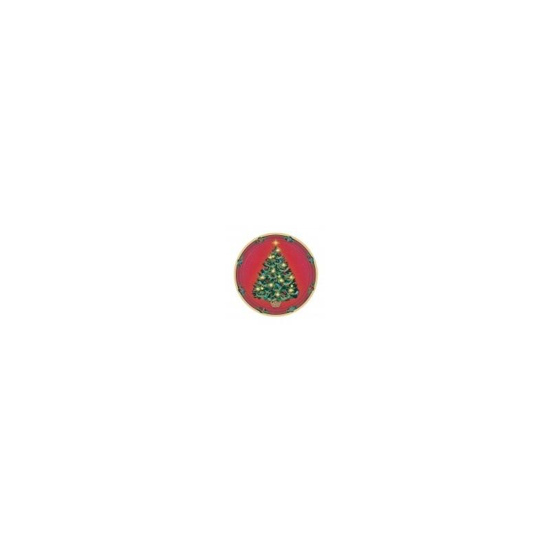 AMSCAN - Lot 8 Assiettes Carton Sapin de Noël 22.9cm diamètre