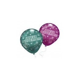"""EVERTS - Lot 8 Ballons à gonfler """"Joyeux Anniversaire"""" - Coloris assortis"""