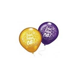"EVERTS - Lot 8 Ballons à gonfler""Faut Fêter ça !"" - Coloris assortis"