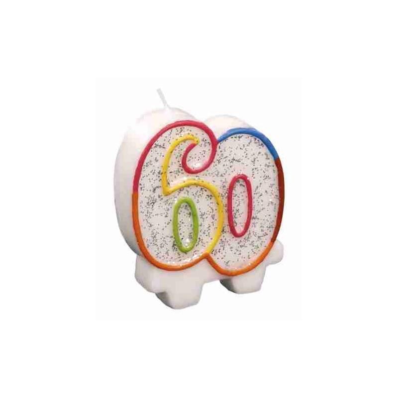 Bougie Chiffre 60 - Hauteur Env 8 Cm