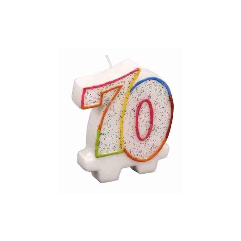 Bougie Chiffre 70 - Hauteur Env 8 Cm
