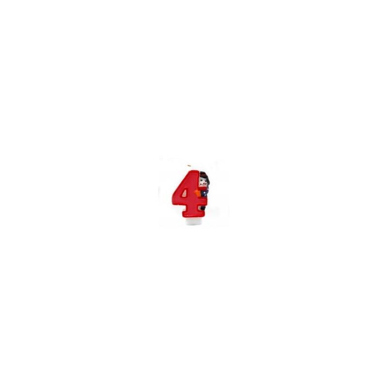 Bougie Chiffre 4 - Clown - Hauteur env 8 Cm