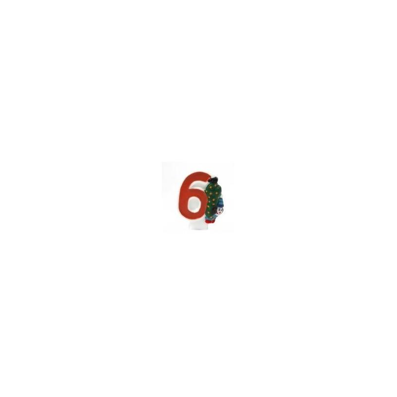 Bougie Chiffre 6 - Clown - Hauteur env 8 Cm